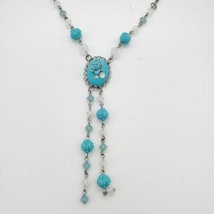 Tarina Tarantino blue rose necklace
